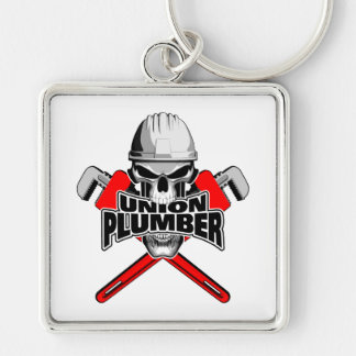 Union Plumber: Skull and Pipe Wrenches Keychain