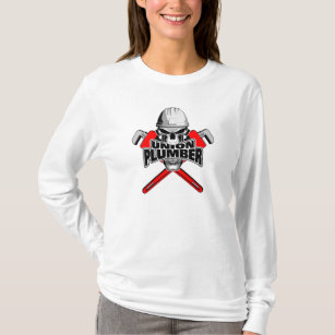 Union Plumber Skull and Pipe Wrenches T-Shirt & Skull And Pipe Wrenches Gifts on Zazzle