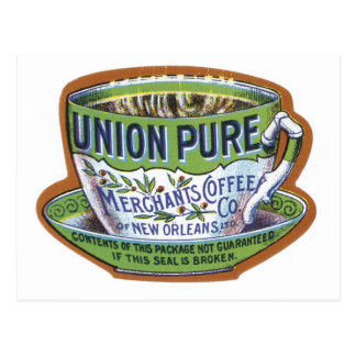 Union Pure Merchant's Coffee Label Postcard