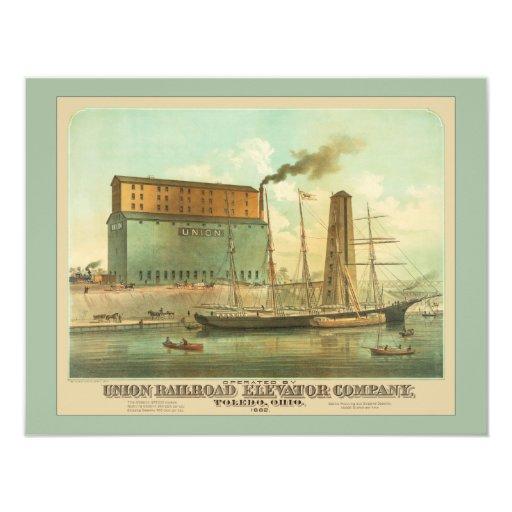 """Union Railroad Elevator Company 4.25"""" X 5.5"""" Invitation Card"""