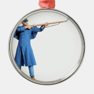 Union Soldier Aiming To The Left with Rifle Metal Ornament