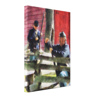 Union Soldier Loading Rifle Canvas Prints