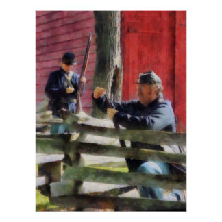 Union Soldier Loading Rifle Poster