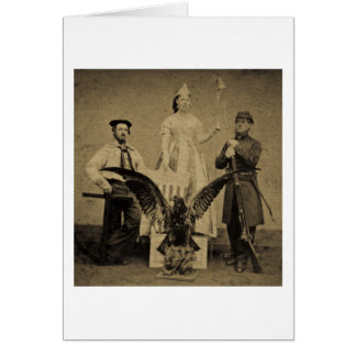 Union Soldier, Sailor, and Lady Liberty Civil War Card