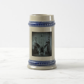 Union Soldier, Sailor, and Lady Liberty Cyan Beer Stein