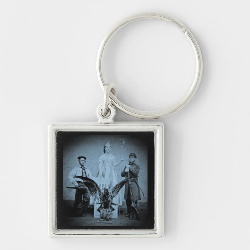 Union Soldier, Sailor, and Lady Liberty Cyan Silver-Colored Square Keychain