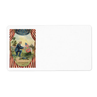 Union Soldier Tombstone Cemetery US Flag Label
