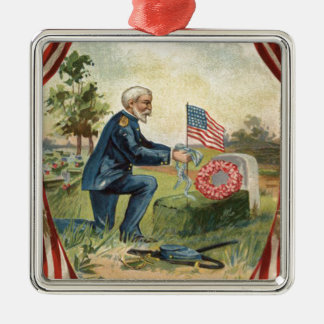 Union Soldier Tombstone Cemetery US Flag Metal Ornament