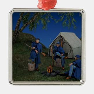 Union Soldiers Encampment Metal Ornament