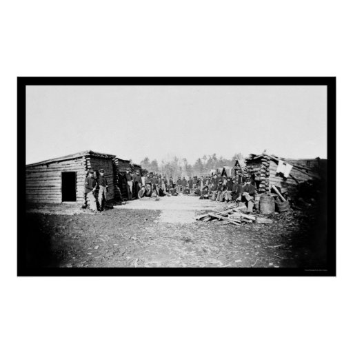 Union Soldiers in Front of Log Cabins 1864 Posters