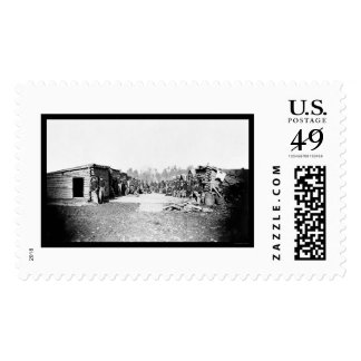 Union Soldiers in Front of Log Cabins 1864 Stamp
