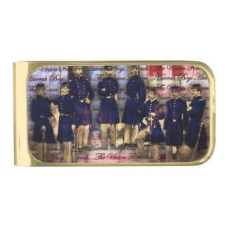 Union Soldiers With Flag Gold Finish Money Clip