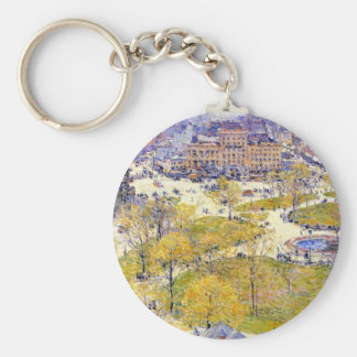 Union Square in Spring by Childe Hassam Keychain