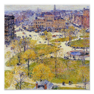 Union Square in Spring by Childe Hassam Poster