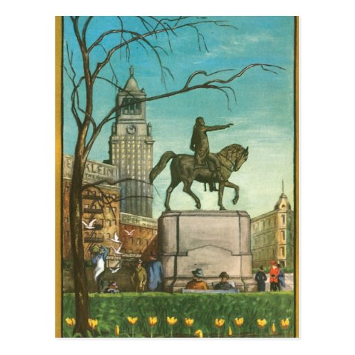 Union Square, New York. Vintage Painting. Postcard
