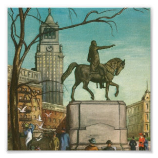 Union Square, New York. Vintage Painting. Poster