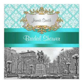 Union Square NYC Aqua Whit Damask 443 Bridal Showr Personalized Invite