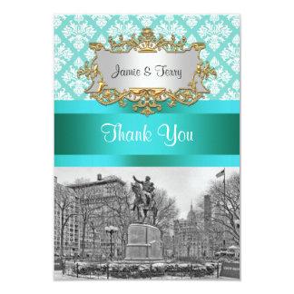 Union Square NYC Aqua White Damask 443 Thank You Card