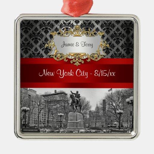 Union Square NYC Black Damask 211 Ornament