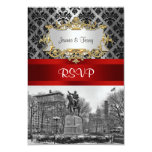 Union Square NYC Black Damask 211 RSVP 2 3.5x5 Paper Invitation Card