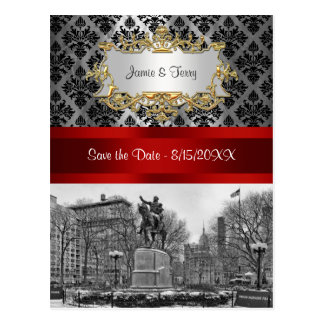 Union Square NYC Black Damask 211 Save the Date Postcard