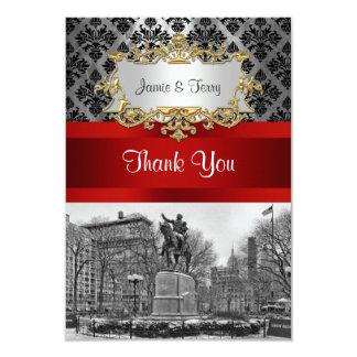 Union Square NYC Black Damask 211 Thank You Card