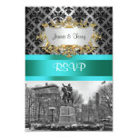 Union Square NYC Black Damask 212 RSVP 1 3.5x5 Paper Invitation Card