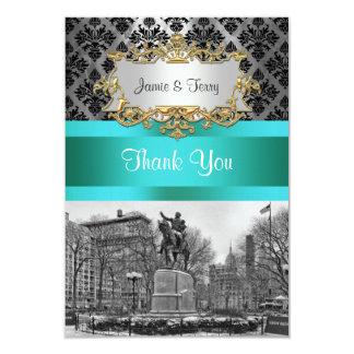 Union Square NYC Black Damask 212 Thank You Card