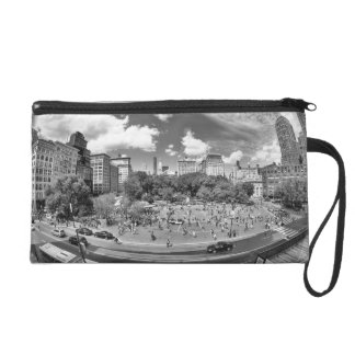 Union Square NYC From Above, B&W, Fish Eye View Wristlet