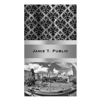 Union Square NYC From Above, B&W, Fish Eye View Business Card Templates