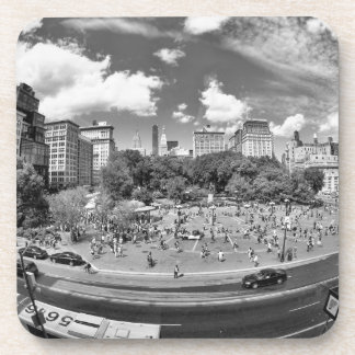Union Square NYC From Above, B&W, Fish Eye View Beverage Coasters