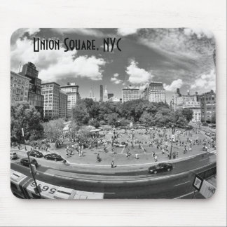 Union Square NYC From Above, B&W, Fish Eye View Mouse Pad