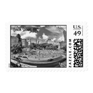Union Square NYC From Above, B&W, Fish Eye View Stamps