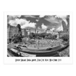 Union Square NYC From Above, B&W, Fish Eye View Post Cards