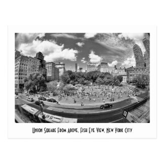 Union Square NYC From Above, B&W, Fish Eye View Postcard