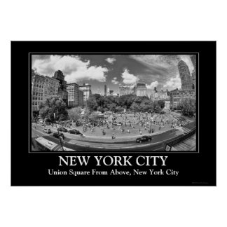 Union Square NYC From Above, B&W, Fish Eye View Poster