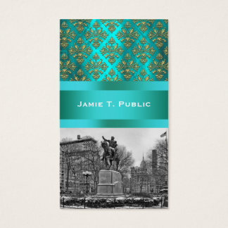 Union Square NYC Gold Teal Damask 222 Business Card