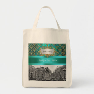 Union Square NYC Gold Teal Damask 222 Canvas Tote