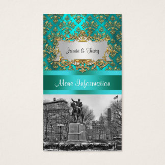 Union Square NYC Gold Teal Damask 222 Event Info Business Card