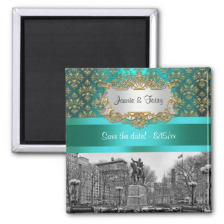 Union Square NYC Gold Teal Damask 222 Save Date Refrigerator Magnets