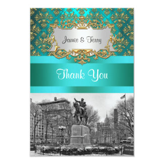 Union Square NYC Gold Teal Damask 222 Thank You Card