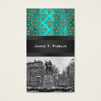 Union Square NYC Gold Teal Damask 223 Business Card