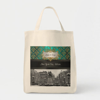 Union Square NYC Gold Teal Damask 223 Canvas Tote