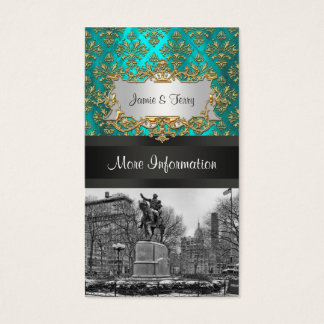 Union Square NYC Gold Teal Damask 223 Event Info Business Card