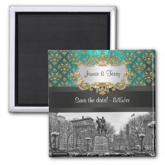 Union Square NYC Gold Teal Damask 223 Save Date Fridge Magnets