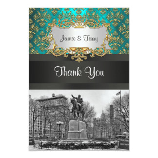 Union Square NYC Gold Teal Damask 223 Thank You Card