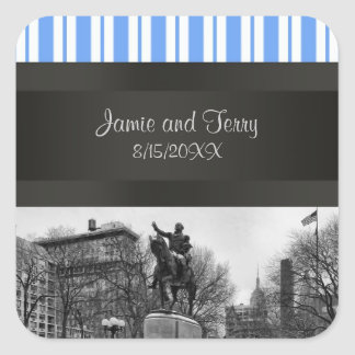 Union Square NYC in Winter Invitation Suite BW 01 Square Sticker