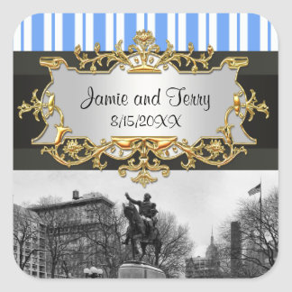 Union Square NYC in Winter Invitation Suite BW 01G Square Sticker
