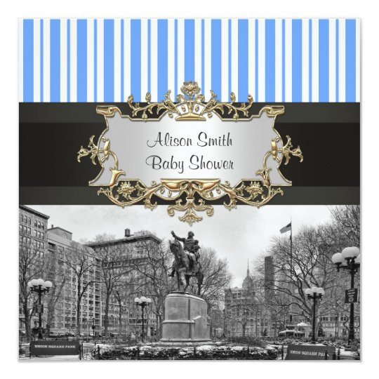 Union Square NYC Winter BW 01G Baby Shower Invite