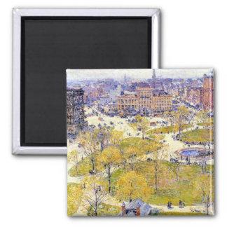 Union Square, Spring, Hassam Vintage Impressionism Magnet